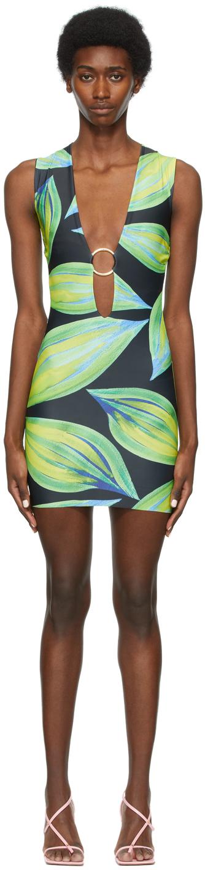 SSENSE Exclusive Blue & Green Sleeveless Ring Dress