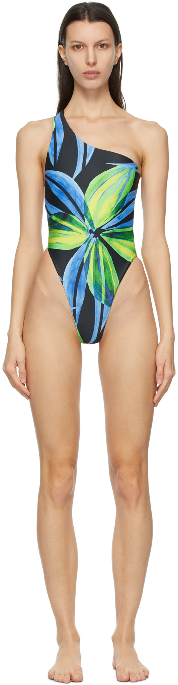 SSENSE Exclusive Blue & Yellow Plunge One-Piece Swimsuit