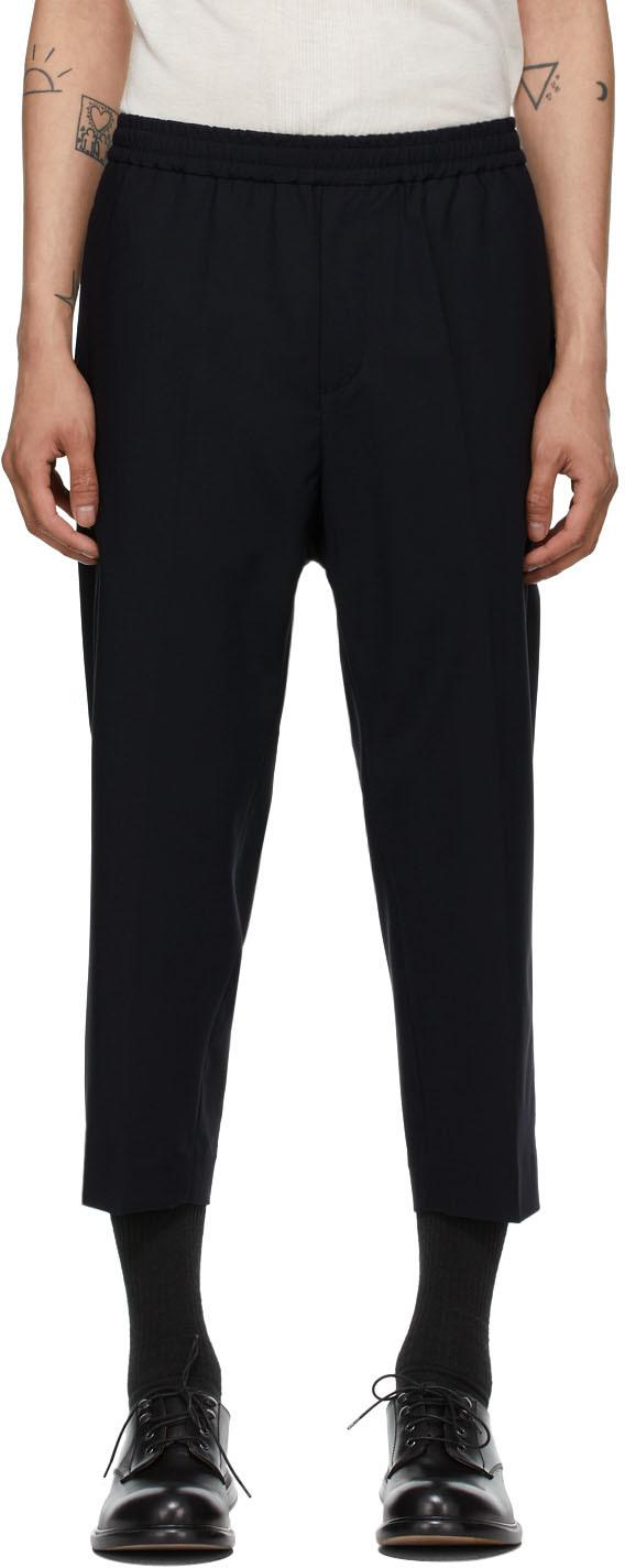 Navy Wool Slim Trousers