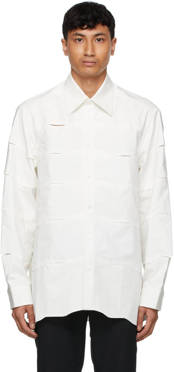 White Poplin Cutout Shirt