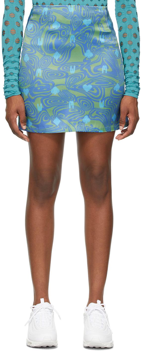 Green & Blue Dial-Up Skirt