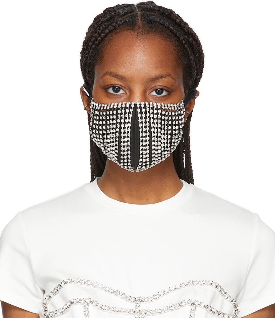 Silver Crystal Fringe Mask Cover