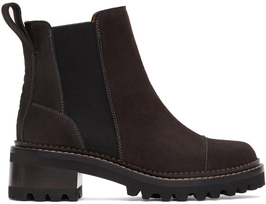 See by Chloé 黑色 Mallory 绒面革踝靴