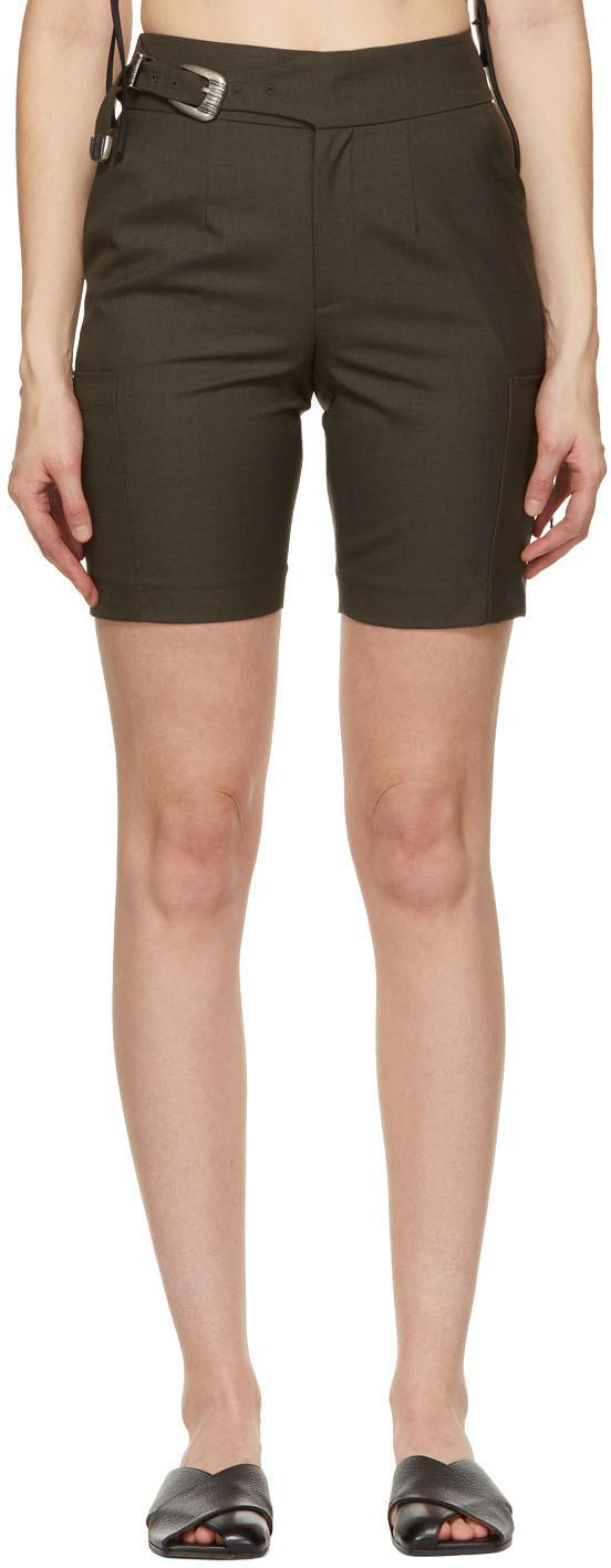 Khaki Wool Biker Diego Shorts