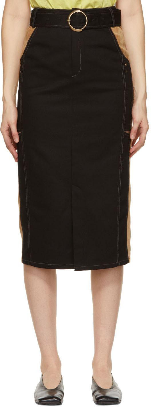 Black & Tan Slit Nadia Skirt