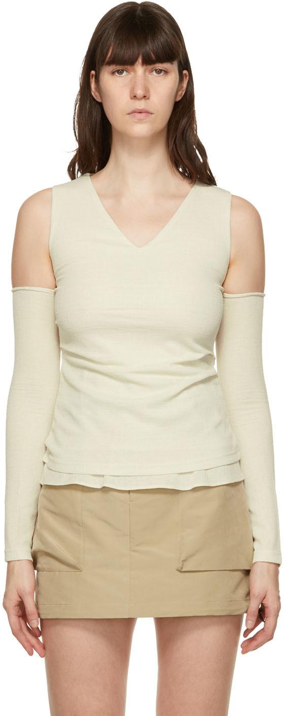 Off-White Cut-Off Drape Long Sleeve T-Shirt