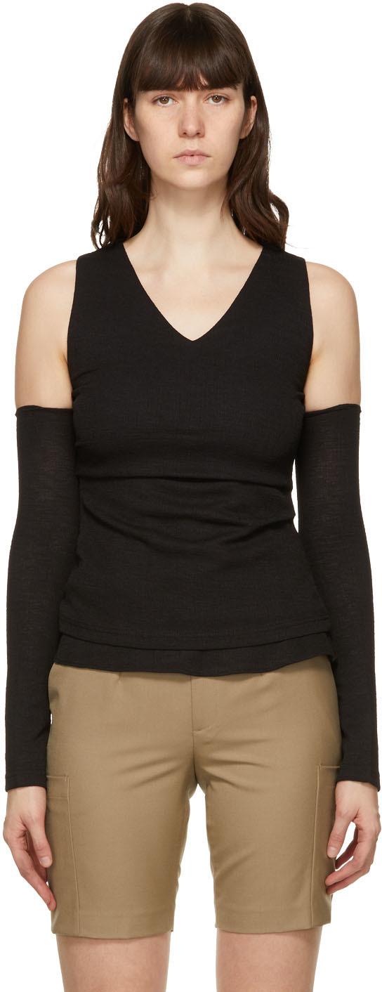 Black Cut-Off Drape Long Sleeve T-Shirt