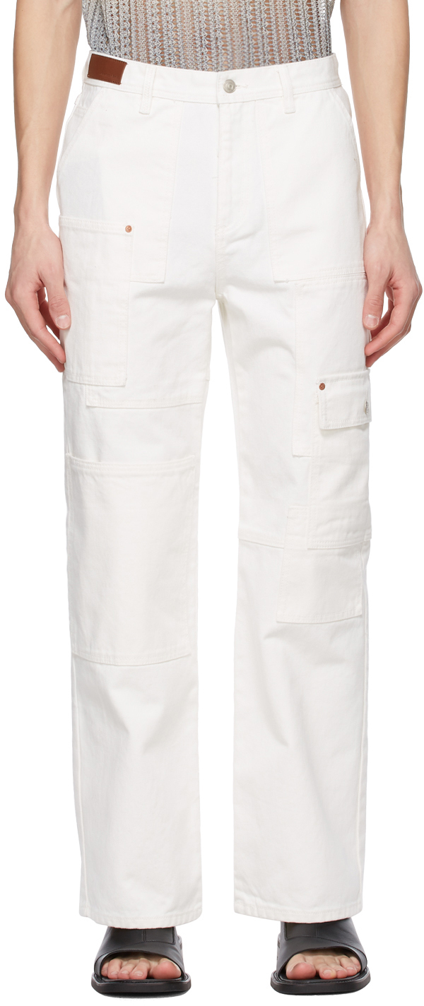 White Wide Patchwork Jeans