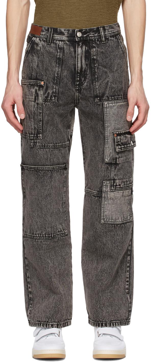 Black Wide Patchwork Jeans