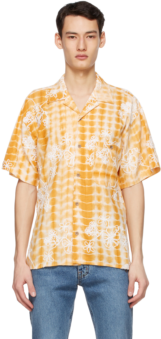 Yellow & White Tie-Dyed Embroidery Shirt