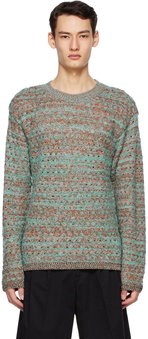 Green & Brown Multi Mélange Crewneck Sweater