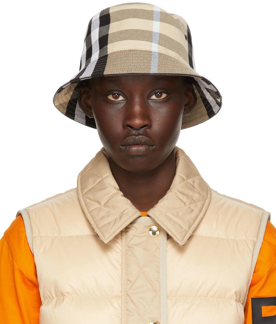 Beige Check Jacquard Bucket Hat