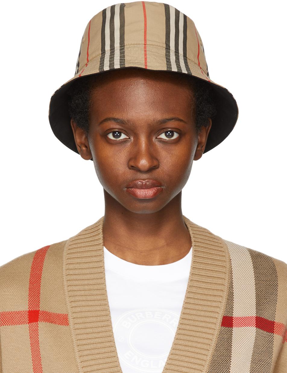 Reversible Beige Icon Stripe Bucket Hat