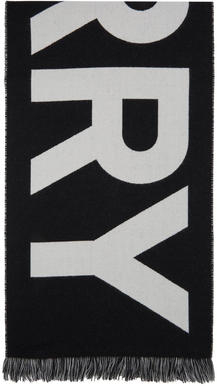 Black Wool Jacquard Logo Scarf