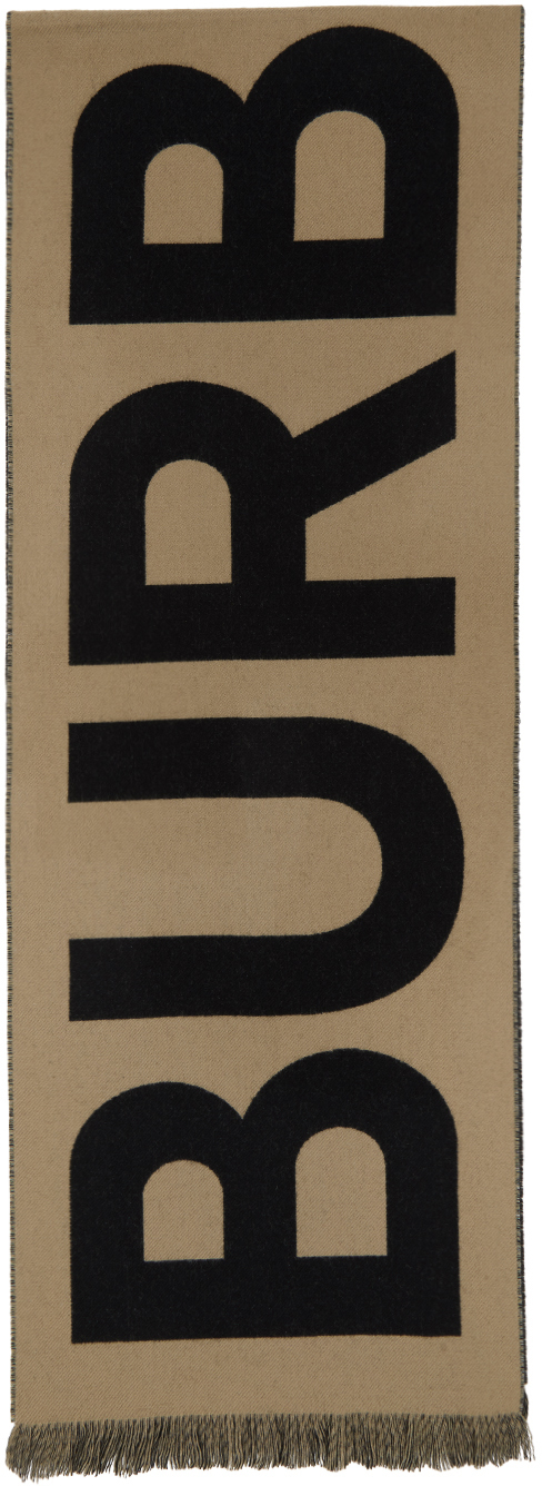 Tan Wool Logo Scarf