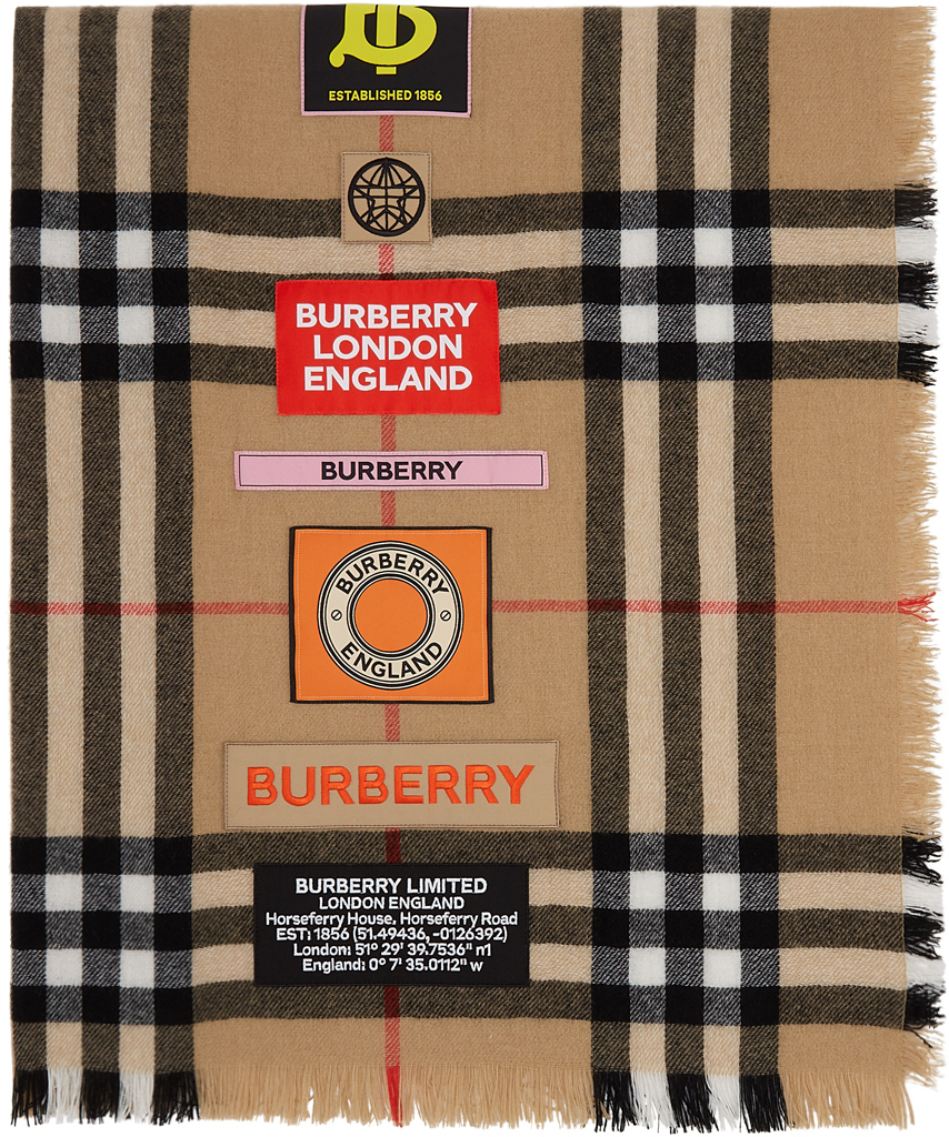 Beige Cashmere Giant Check Logo Graphic Scarf