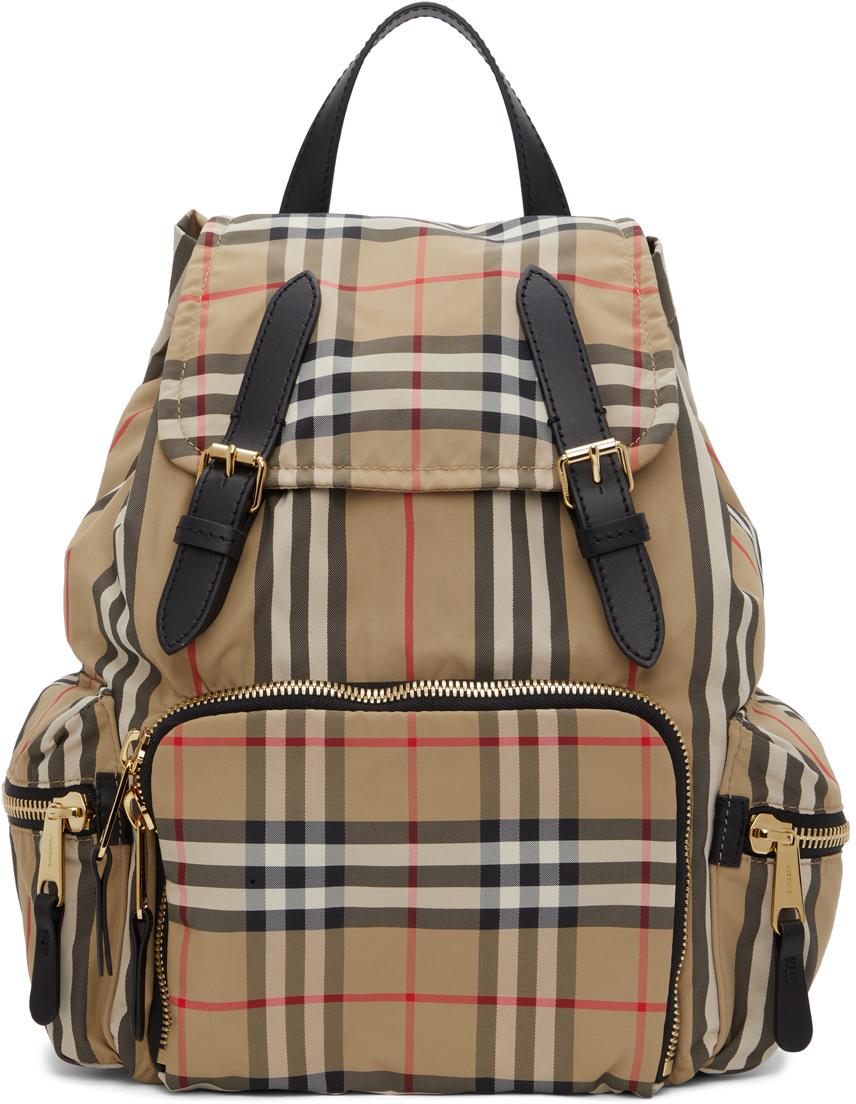 Beige Medium Check Rucksack Backpack