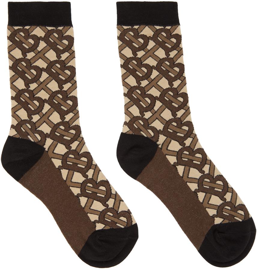 Brown Monogram Socks