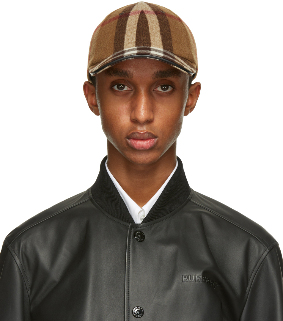 Brown Wool Check Baseball Cap