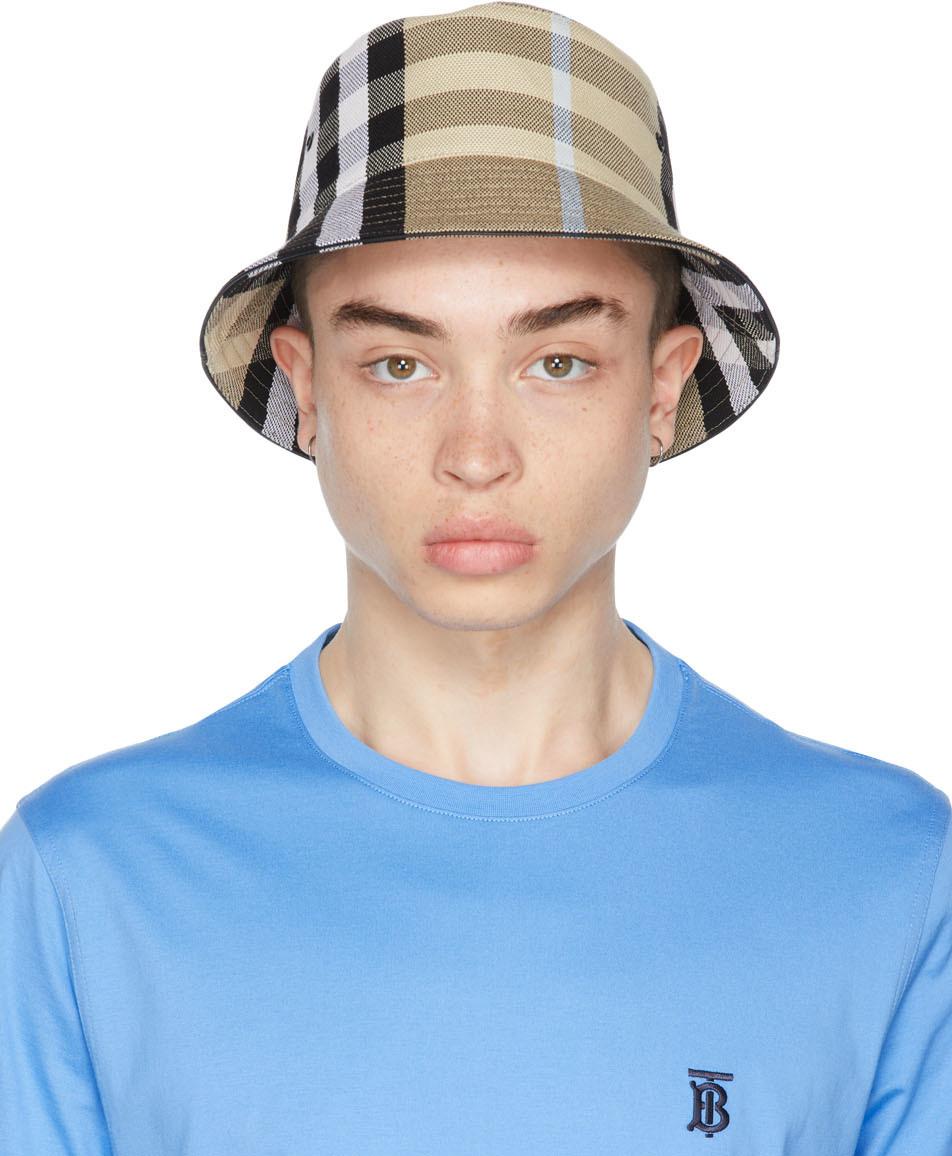 Beige Cotton Check Bucket Hat