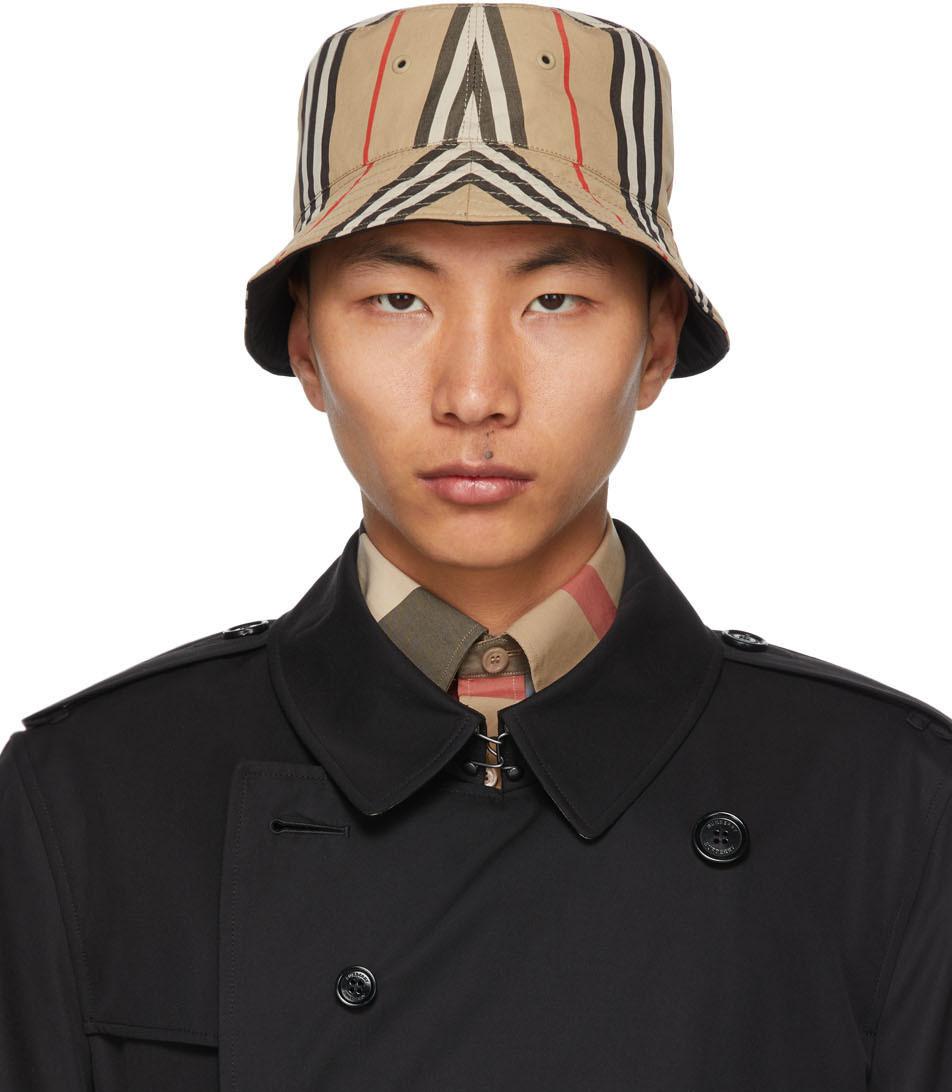Reversible Beige Cotton Icon Stripe Bucket Hat