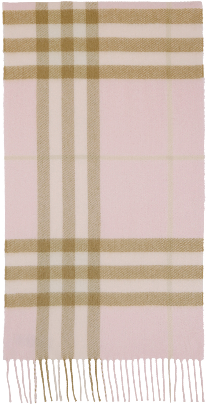 Pink Cashmere Check Classic Scarf