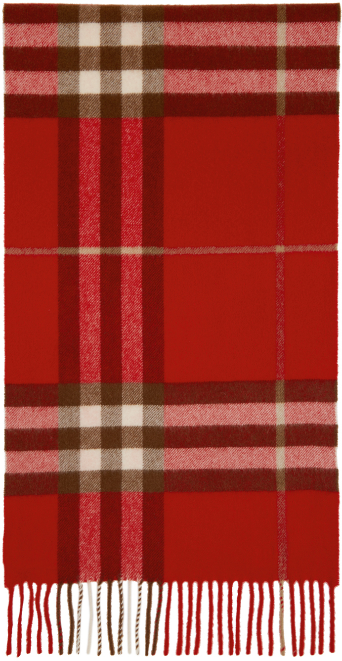 Red Cashmere Classic Check Scarf