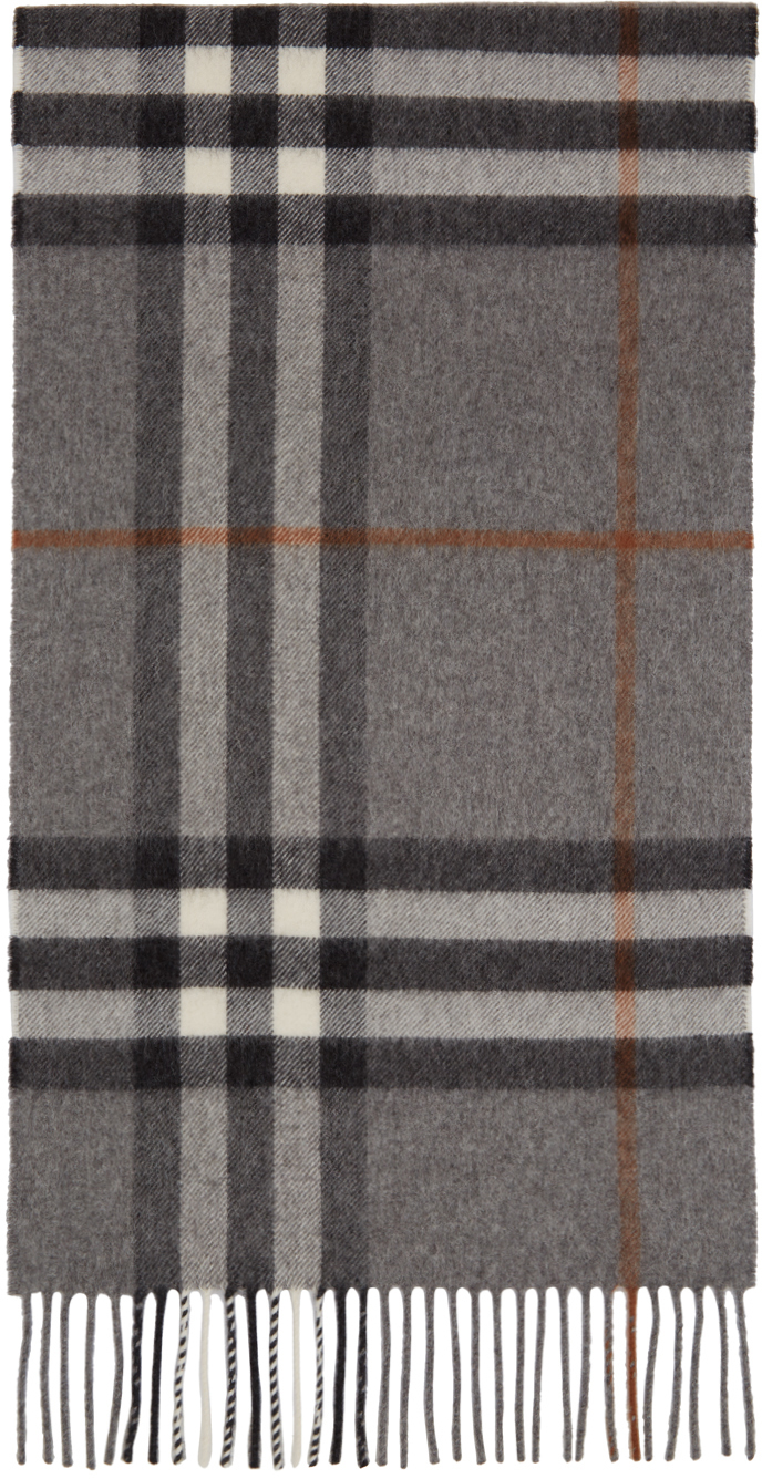 Grey & Tan Cashmere Giant Check Scarf