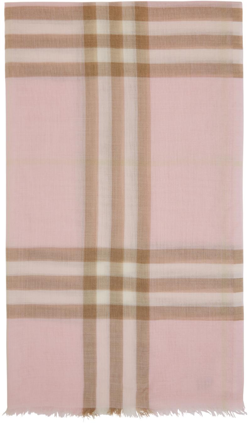 Pink & Beige Gauze Giant Check Scarf
