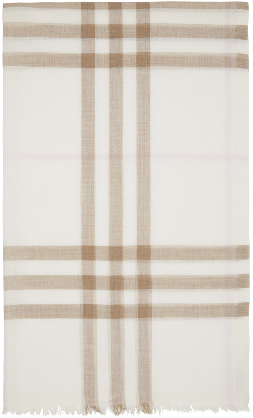 Off-White & Pink Gauze Giant Check Scarf