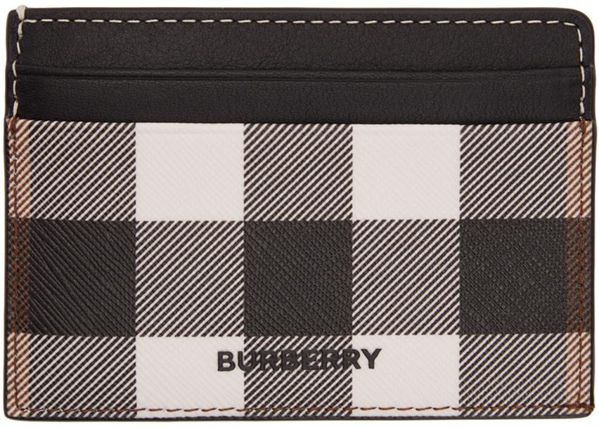 Black & White E-Canvas Check Kier Card Holder