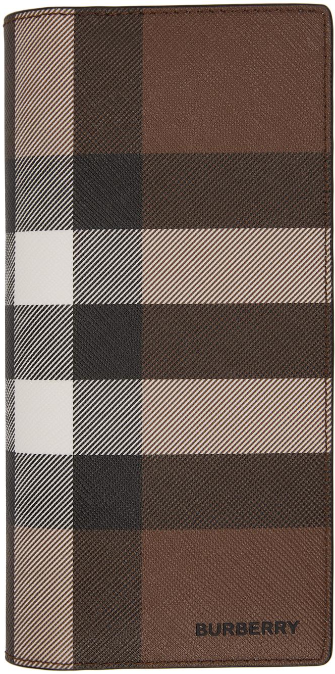 Burberry Brown E-canvas Check Continental Wallet In Dark Birch