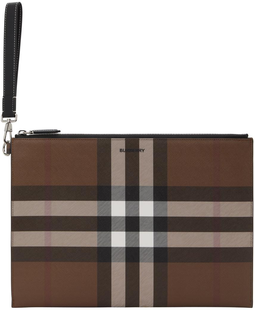 Brown E-Canvas Large Zip Pouch