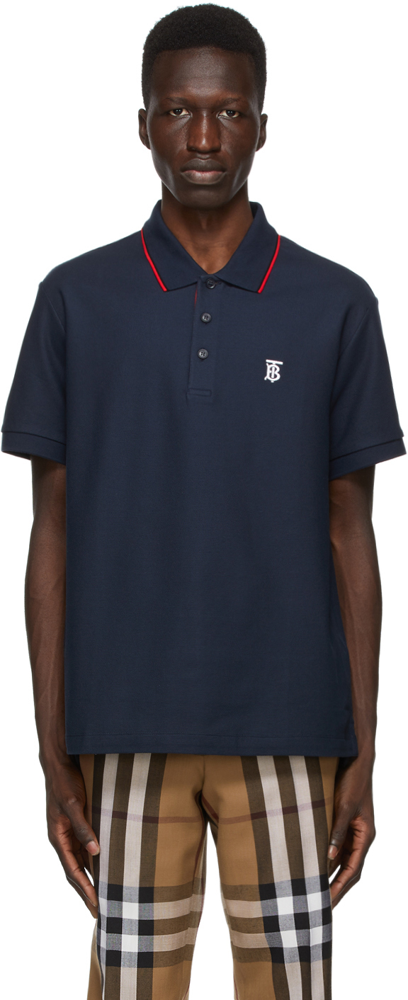 Burberry 海军蓝 Walton Icon Stripe Polo 衫