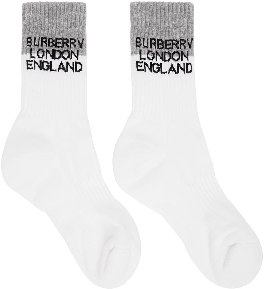 White & Grey Two-Tone Intarsia Logo Socks