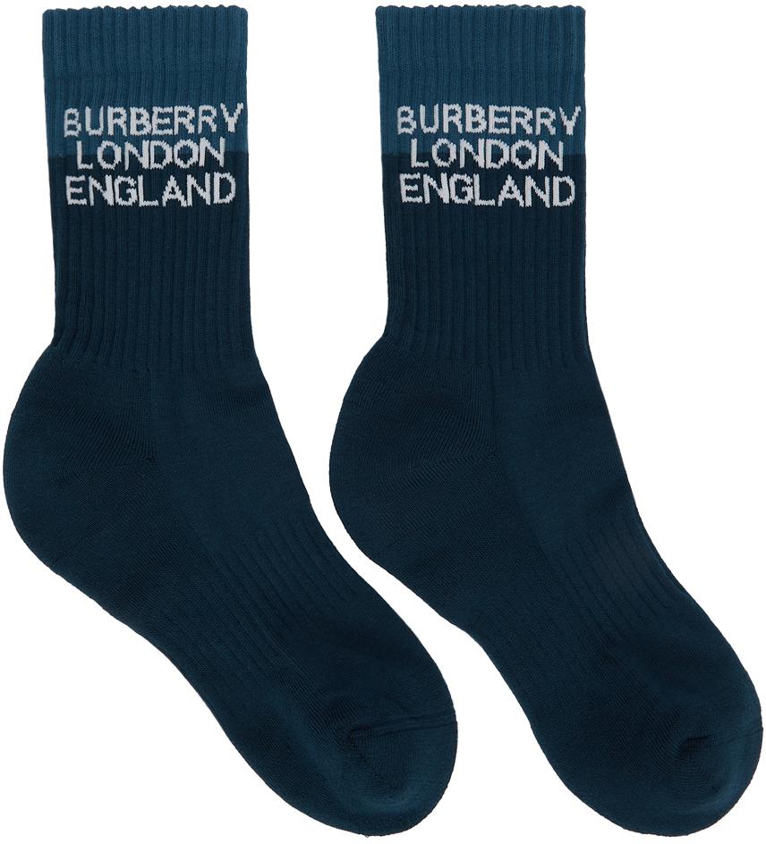 Navy Two-Tone Logo Intarsia Socks