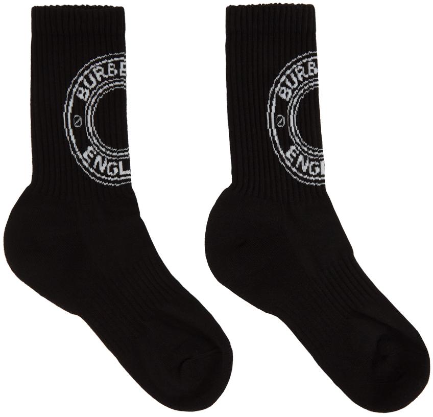 Black Intarsia Logo Socks