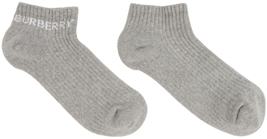 Grey Intarsia Logo Ankle Socks