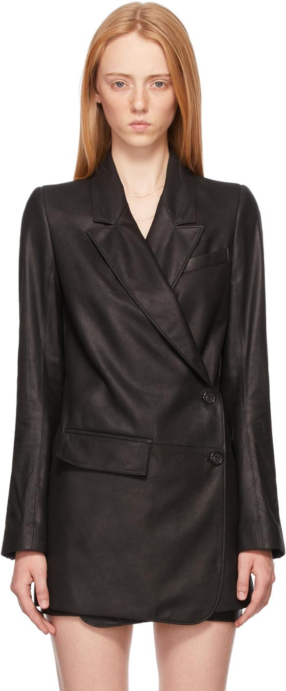 Black Leather Oversized Jacket