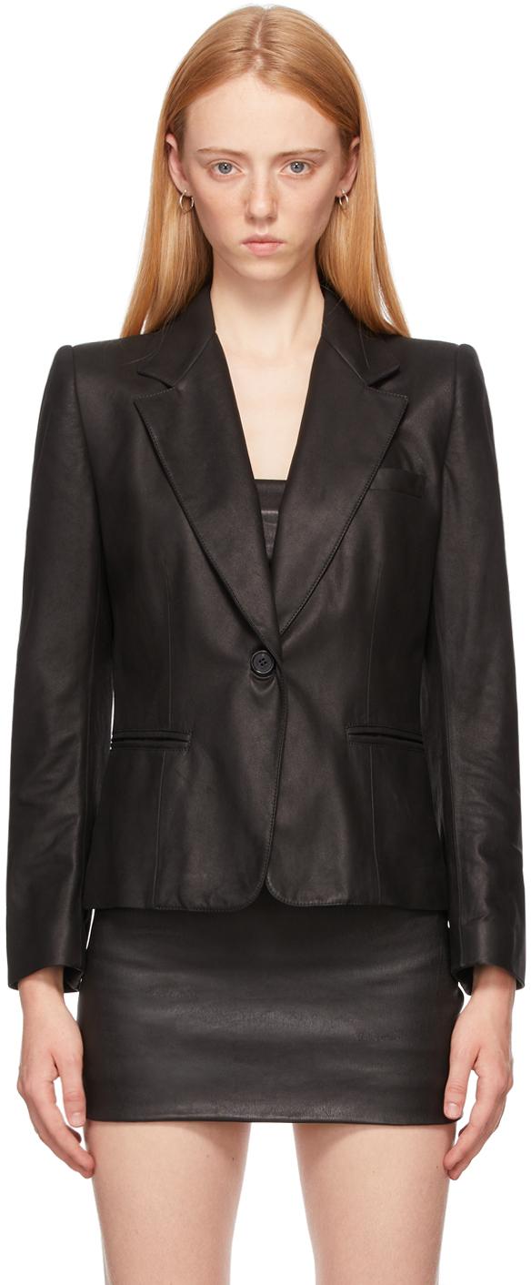 Black Leather Oversized Angelina Jacket