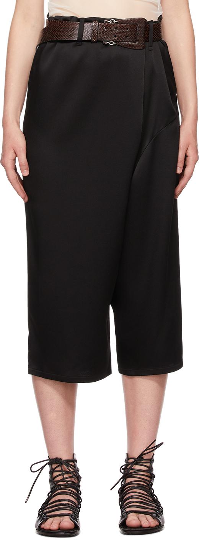 Black Satin Asymmetric Trousers
