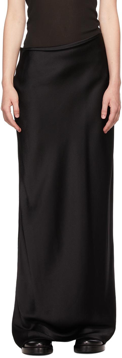 Black Satin Long Skirt