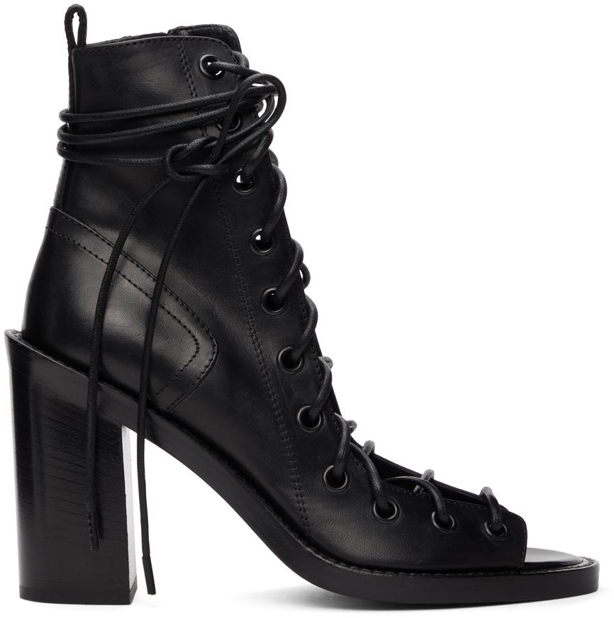 Black Lace-Up Heeled Sandals