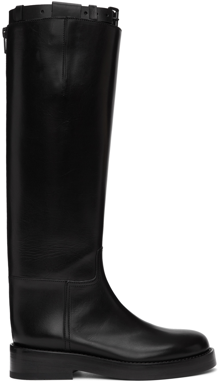 Black Buckle Riding Boots