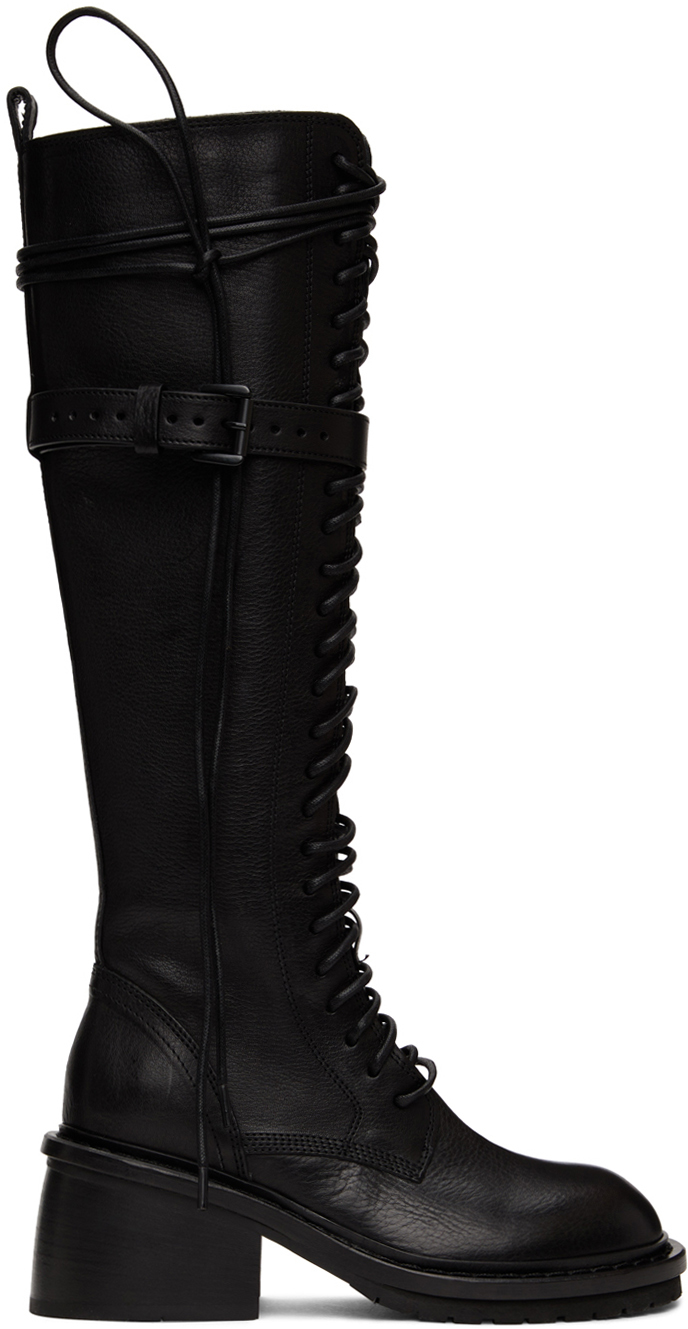Black Lace-Up High Boots