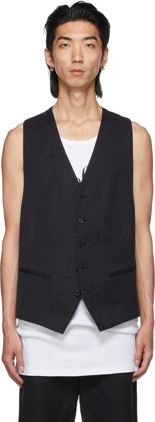 Black Cotton & Linen Vest