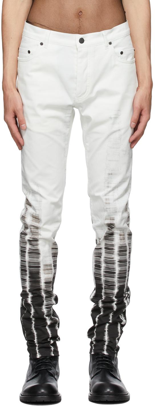 White Tie-Dye Jeans