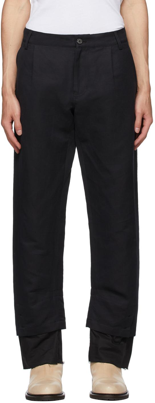 Black Cotton & Linen Double Hem Trousers