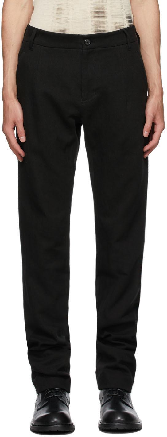 Black Cotton & Linen Straight-Leg Trousers