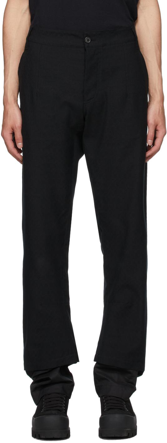 Black Cotton Double Hem Trousers